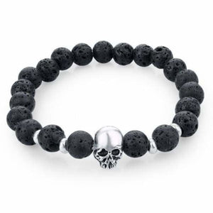 Natural Stone Skull Bracelet Collection - Dark Black