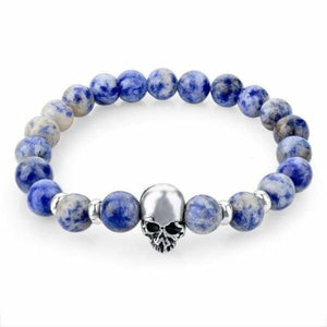 Natural Stone Skull Bracelet Collection - Dark Blue