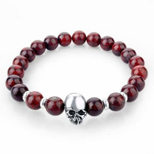 Natural Stone Skull Bracelet Collection - Dark Red