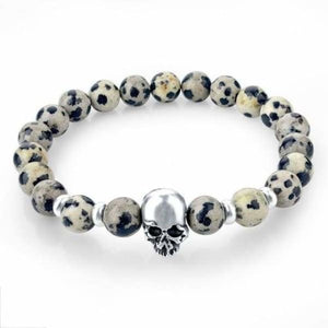Natural Stone Skull Bracelet Collection - Grey