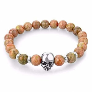 Natural Stone Skull Bracelet Collection - Light Red