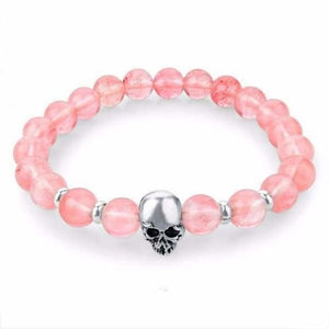 Natural Stone Skull Bracelet Collection - Pink