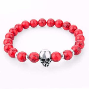 Natural Stone Skull Bracelet Collection - Red
