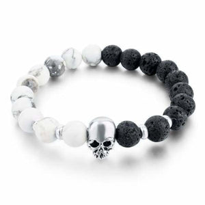 Natural Stone Skull Bracelet Collection - White Black
