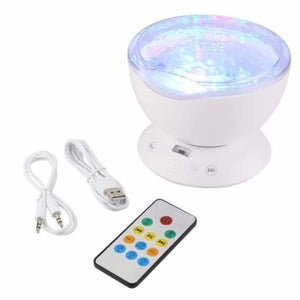 Ocean Wave effect light projector and speaker - White - Night Lights