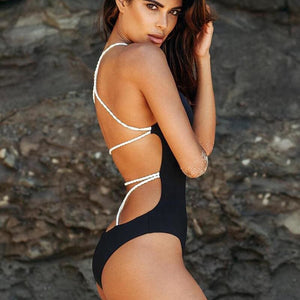 One Piece Rope Style Swimsuit Collection - Black/White / S