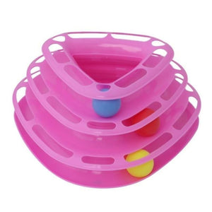 Pet Tower Of Tracks Interactive Toy - Triangle Pink - Cat Toys