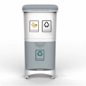 Recyclable vertical wheels household storage - waste bins - 2layer - recyclable-vertical-wheels-household-storage