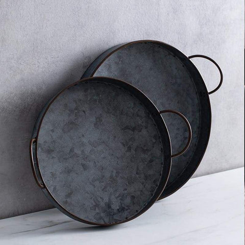 Retro Round Iron Plate - Dishes & Plates