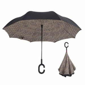Revolutionary Upside Down Reverse Double Skin Umbrella - Leopard - Umbrellas