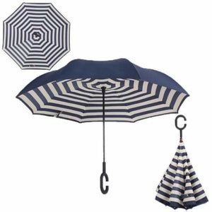 Revolutionary Upside Down Reverse Double Skin Umbrella - Naval stripe - Umbrellas