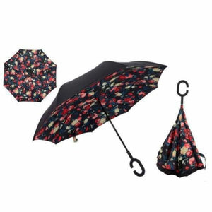 Revolutionary Upside Down Reverse Double Skin Umbrella - Red Floral - Umbrellas