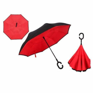 Revolutionary Upside Down Reverse Double Skin Umbrella - Red - Umbrellas