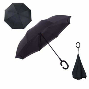 Revolutionary Upside Down Reverse Double Skin Umbrella - Black - Umbrellas