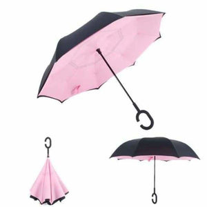 Revolutionary Upside Down Reverse Double Skin Umbrella - Pink - Umbrellas