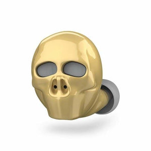 Skull Bluetooth Earphone with Microphone - Bluetooth Earphones & Headphones - Gold - skull-bluetooth-earphone-with-microphone