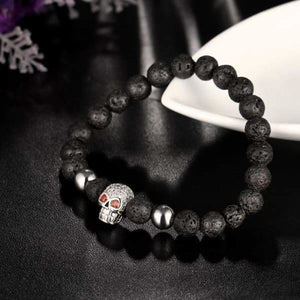 Skull Bracelet Collection in Lava Stone