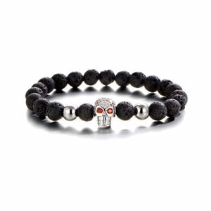 Skull Bracelet Collection in Lava Stone - Silver