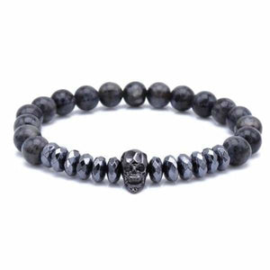 Skull Bracelet With Cut Hematite Beads - Grey Map Stone