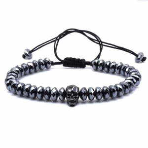 Skull Bracelet With Cut Hematite Beads - Macrame