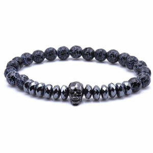 Skull Bracelet With Cut Hematite Beads - Weathered Stone