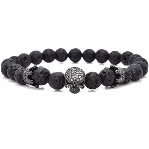Skull & Crown With Black Lava Rock - Black / 16cm