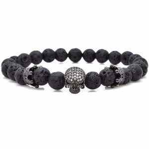 Skull & Crown With Black Lava Rock