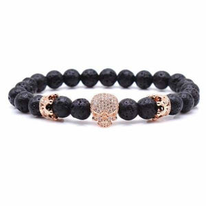 Skull & Crown With Black Lava Rock - Rose Gold / 16cm
