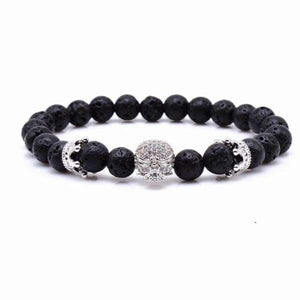 Skull & Crown With Black Lava Rock - Silver / 16cm