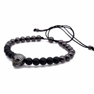 Skull CZ With Natural Stone Bracelet - Black