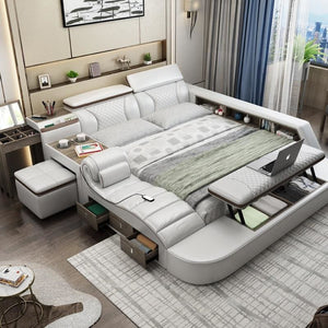 Smart Bed With Massager Stool and Storage - King - Beds