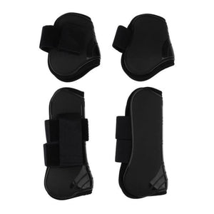 Tendon and Fetlock Boots Horse Protective Gear - Black - Horseshoes
