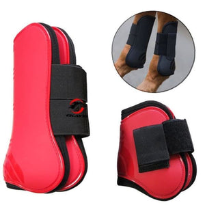 Tendon and Fetlock Boots Horse Protective Gear - Red - Horseshoes