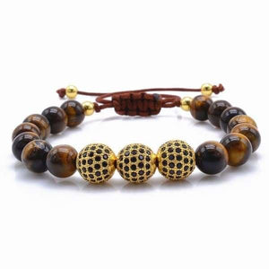 Tiger Eye Stone with Black CZ Globe Beads - Gold