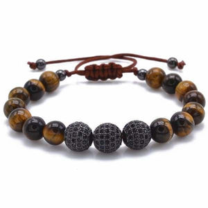 Tiger Eye Stone with Black CZ Globe Beads - Black