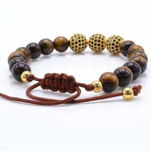 Tiger Eye Stone with Black CZ Globe Beads