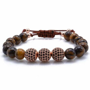 Tiger Eye Stone with Black CZ Globe Beads - Rose Gold