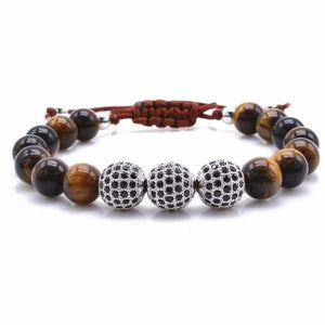 Tiger Eye Stone with Black CZ Globe Beads - Silver