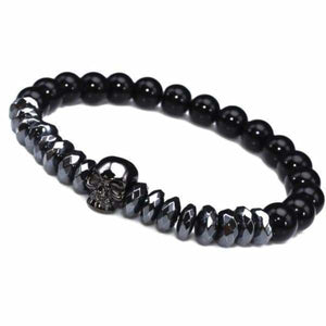 Titanium Skull and Beads Bracelets with Nature Stone Beads - Black Skull / 16cm