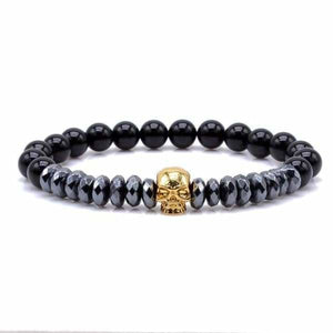 Titanium Skull and Beads Bracelets with Nature Stone Beads - Gold Skull / 16cm