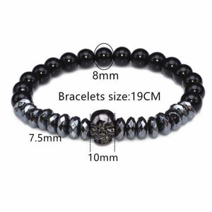 Titanium Skull and Beads Bracelets with Nature Stone Beads