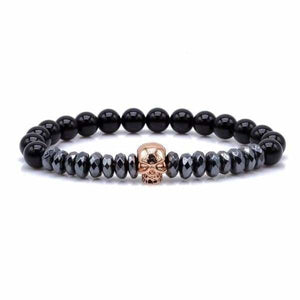 Titanium Skull and Beads Bracelets with Nature Stone Beads - Rose Gold Skull / 16cm