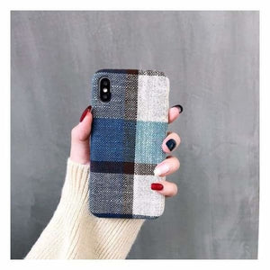Ultra Thin Texture Case For iPhone - Blue/Grey / for iphone XR - Half-wrapped Case