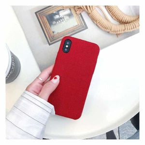 Ultra Thin Texture Case For iPhone - Red rouge / for iphone XR - Half-wrapped Case