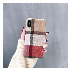 Ultra Thin Texture Case For iPhone - Red/Beige / for iphone XR - Half-wrapped Case