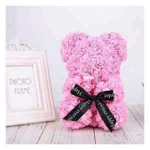 Valentines Rose Bear - Artificial & Dried Flowers - Pink - valentines-rose-bear