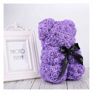 Valentines Rose Bear - Artificial & Dried Flowers - Purple - valentines-rose-bear