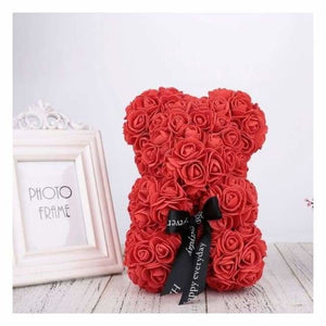 Valentines Rose Bear - Artificial & Dried Flowers - Red - valentines-rose-bear