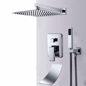 Wall Mount Bathroom Rain Waterfall Shower - Shower Faucets - 2-way 8inch - wall-mount-bathroom-rain-waterfall-shower