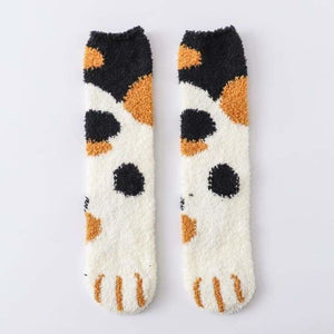 Winter Warm Cat Paw Socks - Home - Black dots - cat-paw-socks